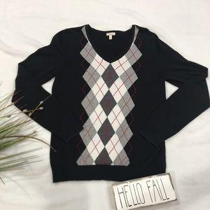 Talbots Black Argyle V-Neck Sweater Size M